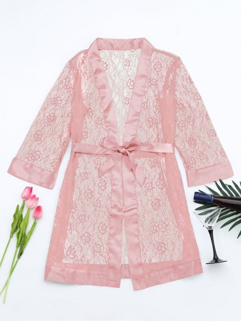 Grosgrain Belt Sheer Lace Sleep Robe - ROSE PÂLE TAILLE MOYENNE Mobile