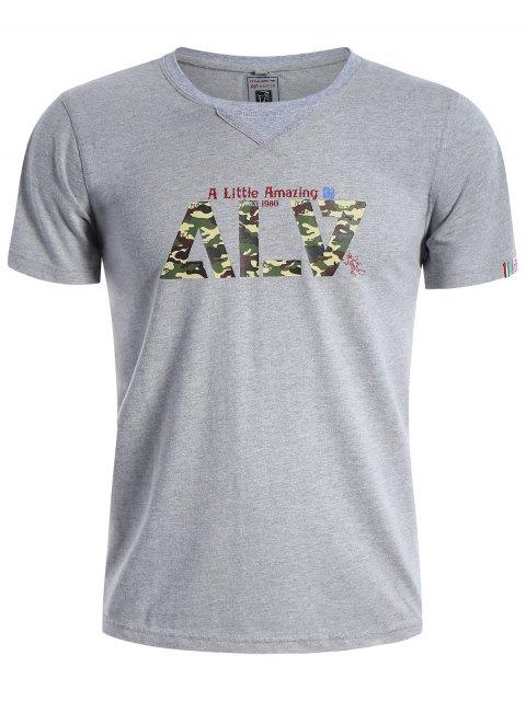 trendy Graphic Short Sleeve Men Camo T-shirt - GRAY L Mobile