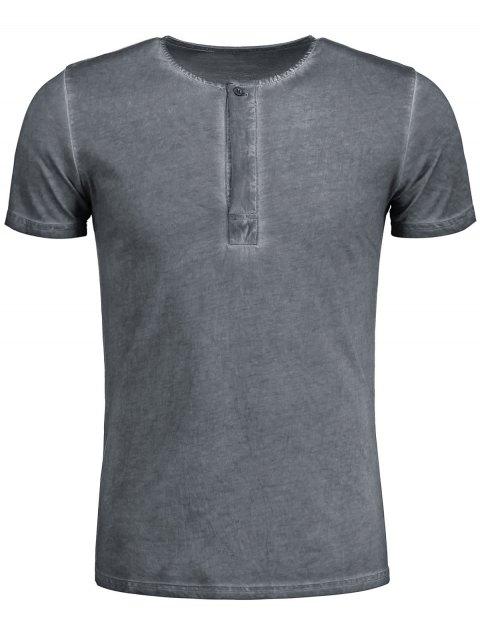 T-shirt Henley Délavé - Gris 2XL Mobile