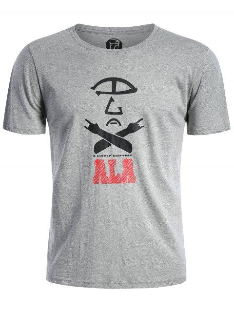 shops Short Sleeve Cotton Blend Graphic T Shirt - GRAY 3XL Mobile
