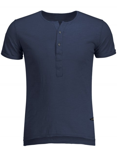 trendy Slub Cotton Mens Henley - BLUE L Mobile
