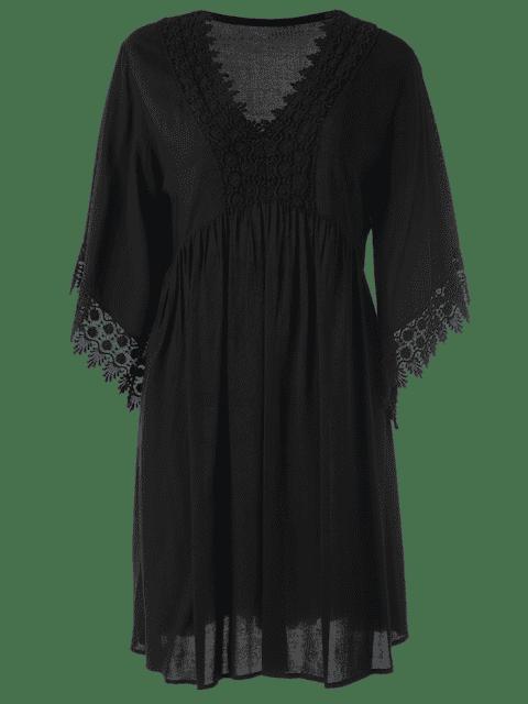 Robe mi-longue à manches longues - Noir XL Mobile