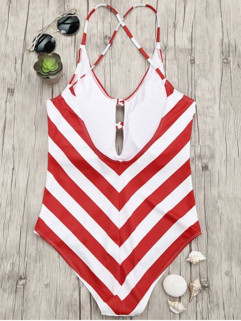 Chevron Stripe Shaping Plunge One Piece Swimsuit - Rouge et Blanc S Mobile