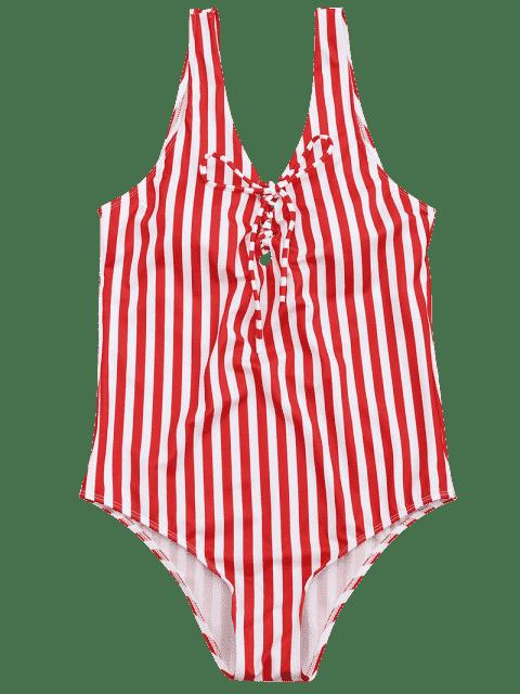 Maillot de bain à encolure à laine à une seule pièce - Rouge et Blanc S Mobile