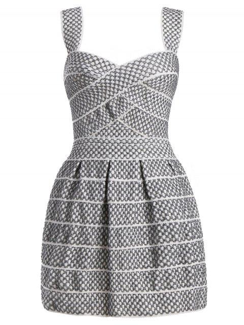 Sweetheart Neck Shiny Mini Dress - Blanc Argent L Mobile