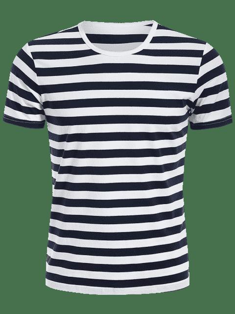 Tee à rayures pour hommes à rayures - Bleu et Blanc XL Mobile