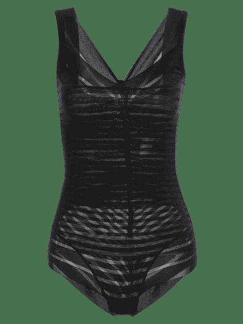 Underbust Sheer Stripe Body Corset Shaper - Noir S Mobile