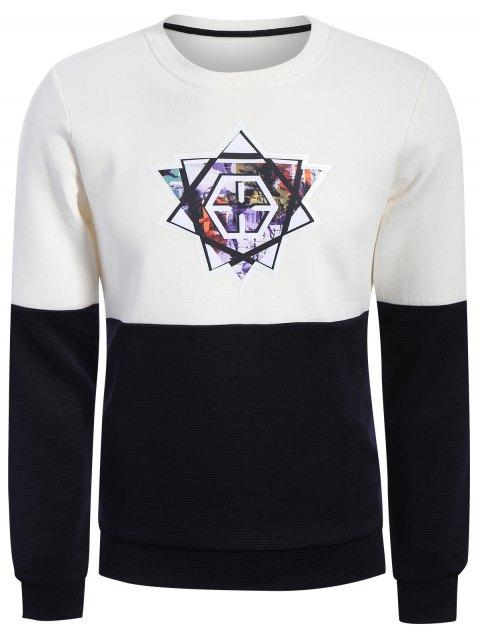 Pullover Graphic Color Block Sweatshirt - Blanc et Noir XL Mobile
