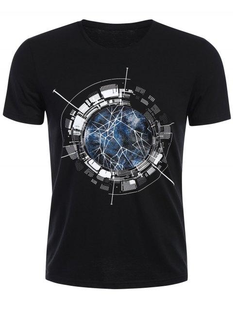 T-shirt à manches courtes à manches courtes - Noir XL Mobile
