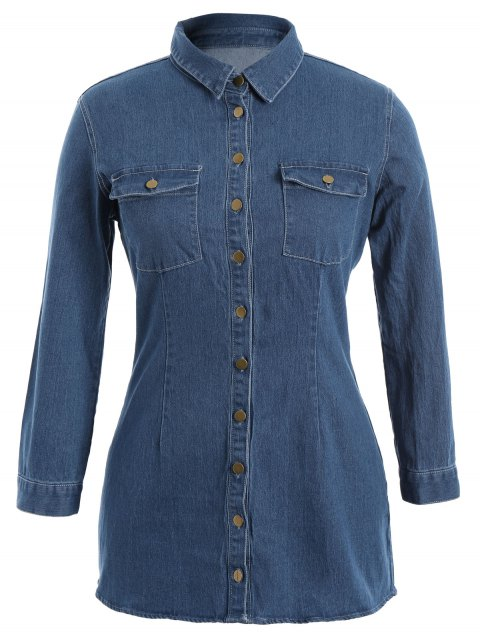 Chemise boutonnée Jean Plus avec poches - Denim Bleu 4XL Mobile