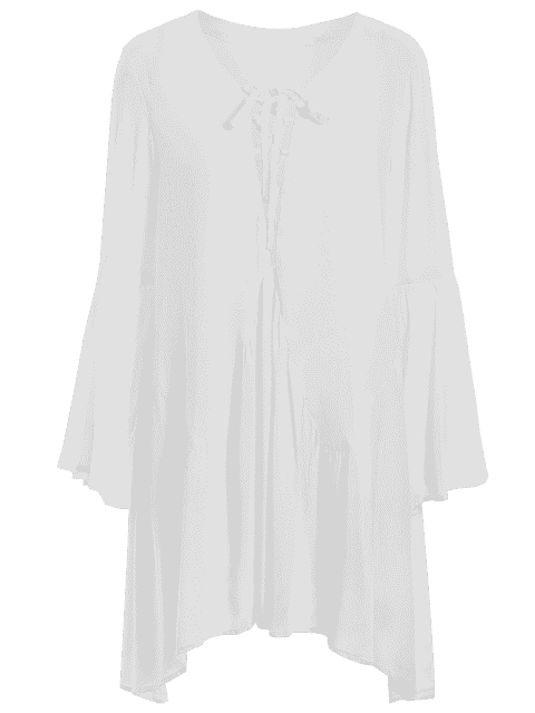 Flare Sleeve Plus Size Lace Up Dress - Blanc 4XL Mobile