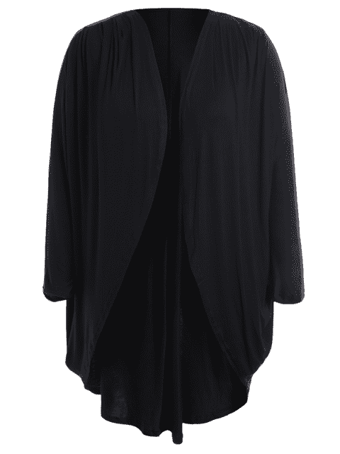 Collarless Plus Size Open Front Top - Noir 4XL Mobile