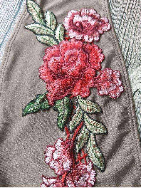 Backless Floral Applique Choker Swimsuit - Brun Clair S Mobile