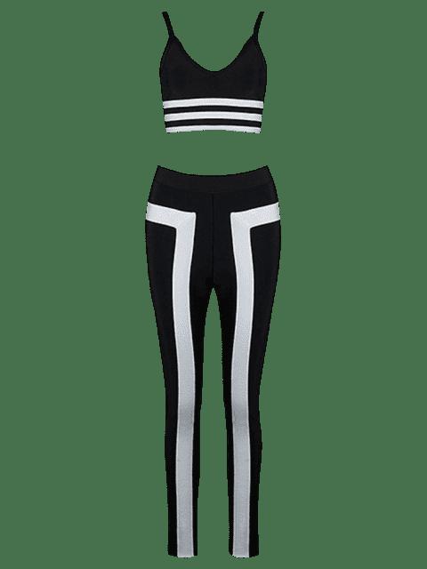 Ensemble de pantalons et de pantalons rayés Cami - Noir M Mobile