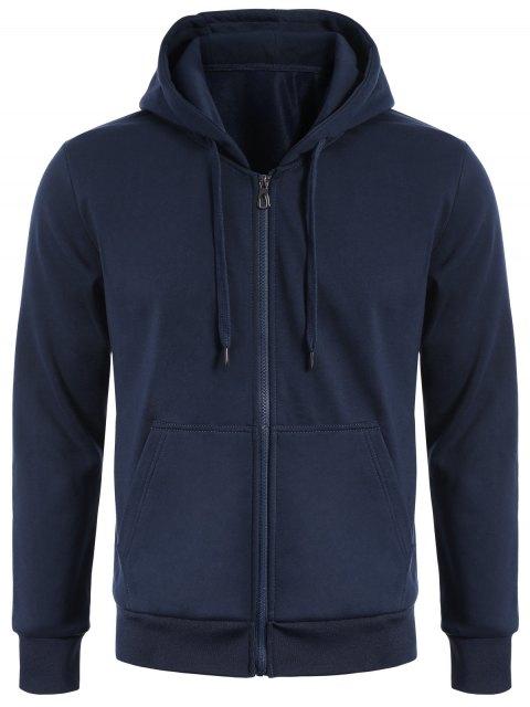 shop Drawstring Kangaroo Pockets Zip Up Hoodie - PURPLISH BLUE 2XL Mobile