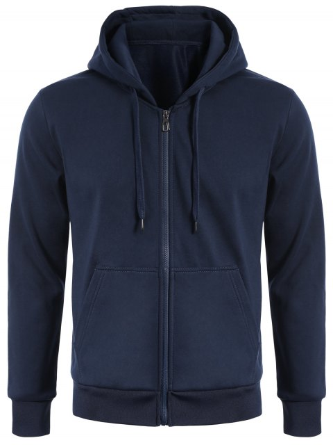 trendy Drawstring Kangaroo Pockets Zip Up Hoodie - PURPLISH BLUE L Mobile