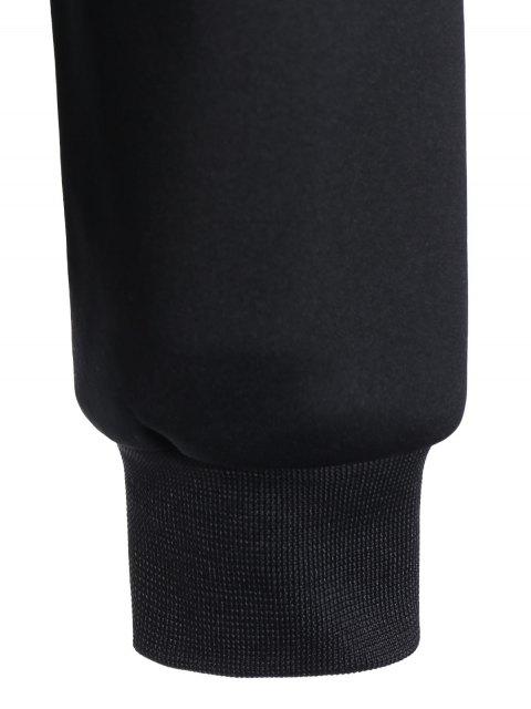 chic Pullover Fishnet Panel Printed Sweatshirt - BLACK 2XL Mobile