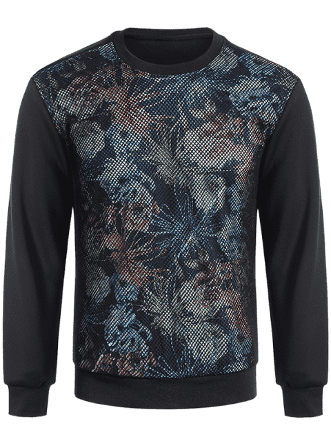 Pullover Fishnet Panel imprimé Sweatshirt - Noir M Mobile