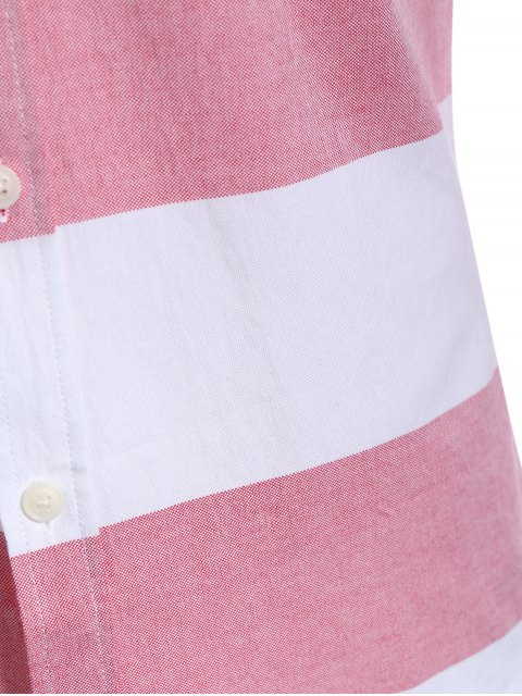 women's Single Breasted Pocket Striped Shirt - RED AND WHITE 4XL Mobile