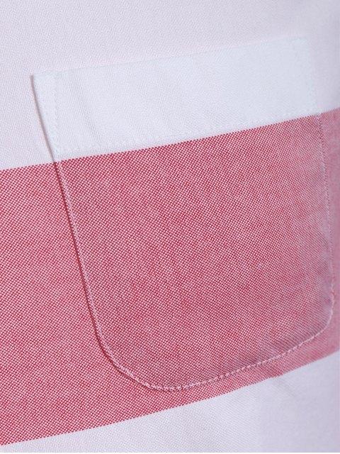 Chemise à rayures simples à poitrine - Rouge et Blanc XL Mobile