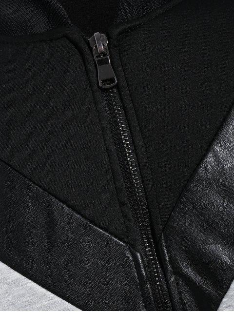 Zip Up Patchwork Veste en cuir en cuir PU - Noir L Mobile