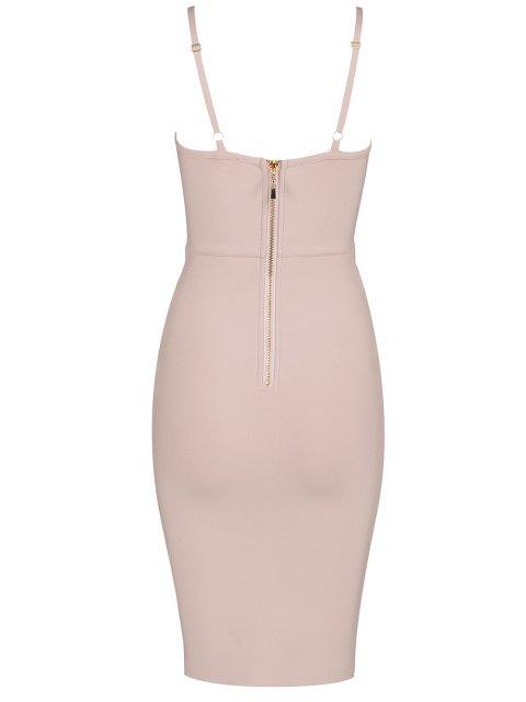 best Embellished Cami Bandage Dress - PINK L Mobile
