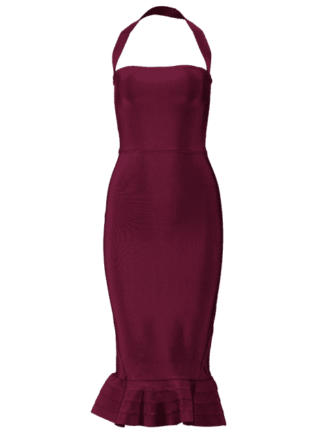 best Halter Fitted Bandage Dress - DEEP RED S Mobile