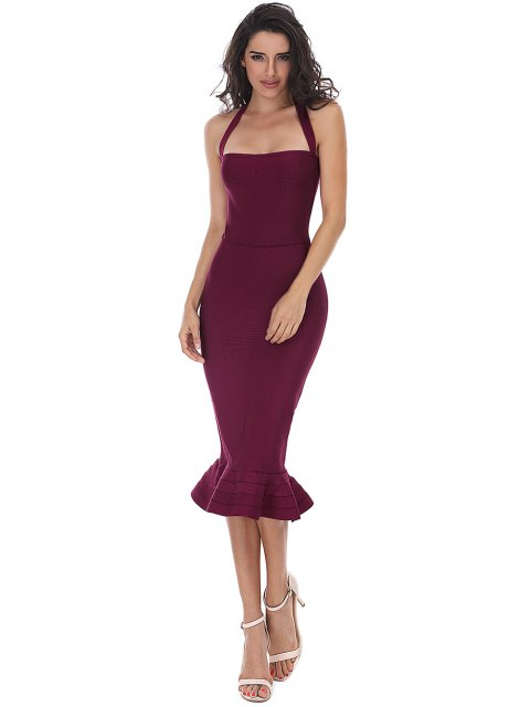 new Halter Fitted Bandage Dress - DEEP RED L Mobile