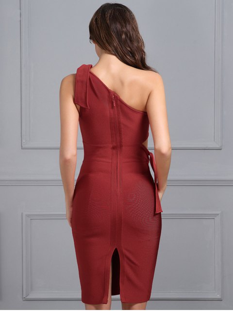 sale One Shoulder Cut Out Fitted Dress - RED L Mobile