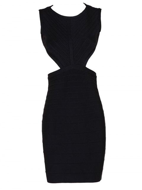 affordable Halter Open Back Bodycon Bandage Dress - BLACK S Mobile