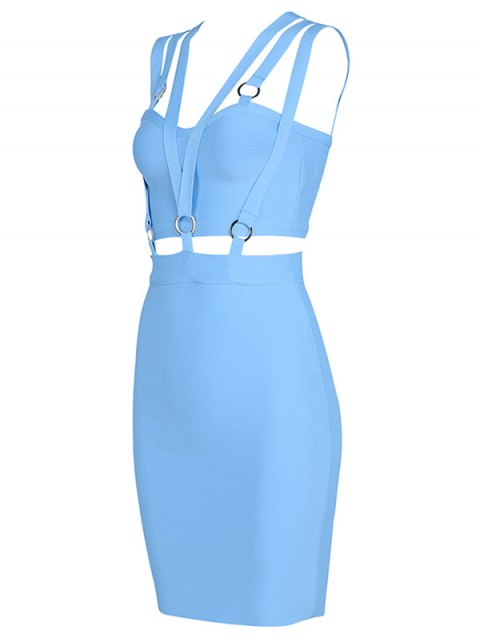 lady Zippered Cut Out Fitted Dress - SKY BLUE S Mobile
