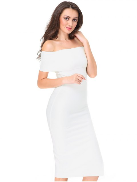latest Off The Shoulder Side Slit Fitted Dress - WHITE S Mobile