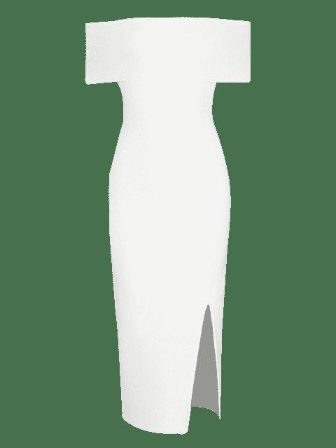 fashion Off The Shoulder Side Slit Fitted Dress - WHITE L Mobile