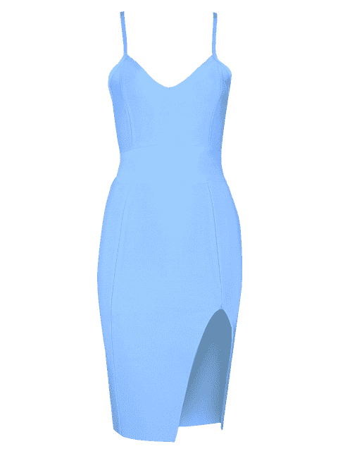 chic Slit Fitted Cami Bandage Dress - SKY BLUE L Mobile
