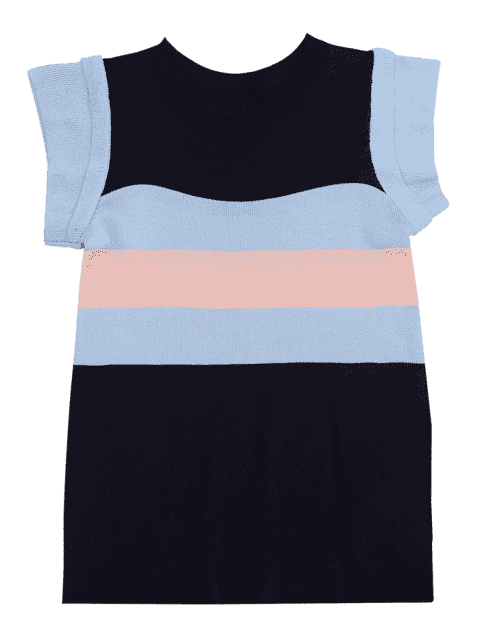 women's Knitted Color Block Layered Top - PURPLISH BLUE ONE SIZE Mobile