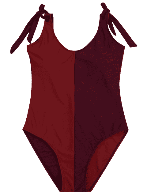 best Shaping Colorblock One Piece Swimsuit - RED XL Mobile