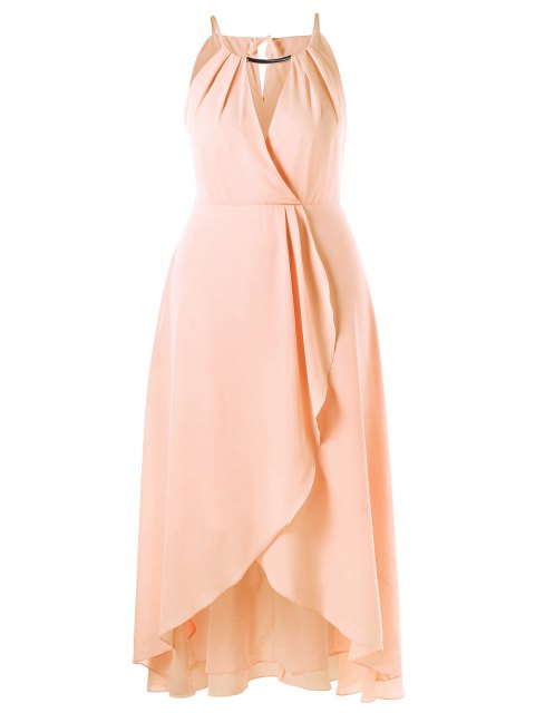 shop Plus Size Cut Out Overlap Flowing Dress - PINKBEIGE 3XL Mobile