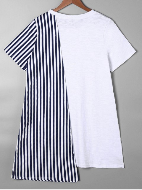 outfit Striped Asymmetrical Mini Tee Dress - BLUE M Mobile