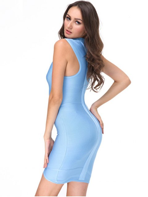 shops Sleeveless High Neck Bodycon Dress - SKY BLUE S Mobile