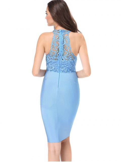 shop Lace Panel Sleeveless Fitted Dress - SKY BLUE L Mobile