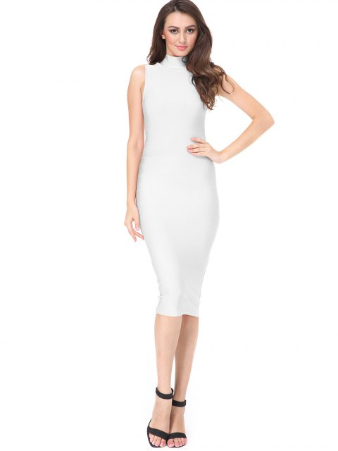 hot High Neck Sleeveless Bandage Dress - WHITE S Mobile