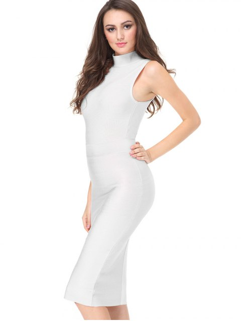 outfits High Neck Sleeveless Bandage Dress - WHITE L Mobile
