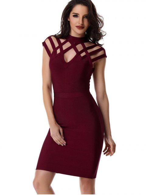 chic High Neck Cut Out Bandage Dress - WINE RED L Mobile