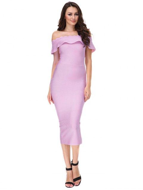 fancy Off The Shoulder Flounce Bandage Dress - PINKISH PURPLE L Mobile