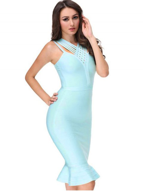 women V Neck Fitted Bandage Dress - SKY BLUE L Mobile