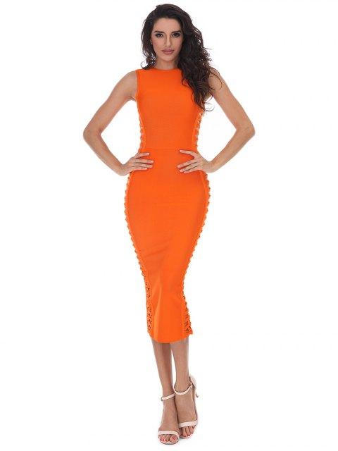 women's Hollow Out Sleeveless Slit Bandage Dress - ORANGE S Mobile
