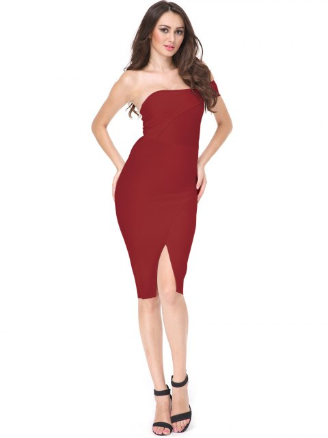 womens One Shoulder Slit Fitted Dress - RED S Mobile
