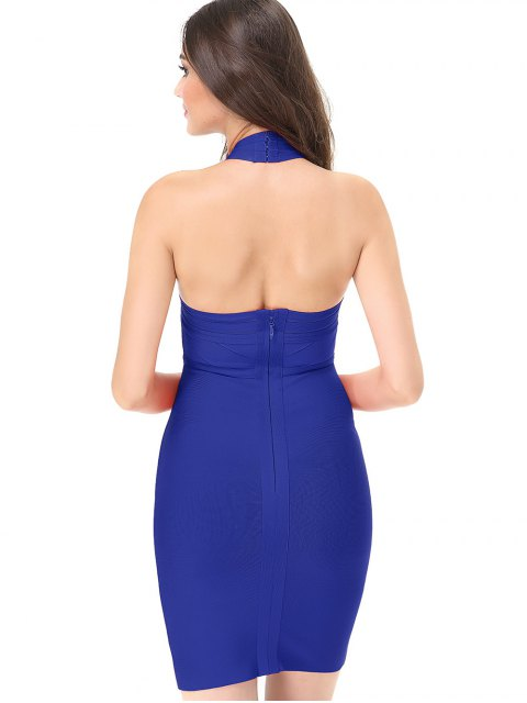 ladies Halter Mesh Panel Bodycon Bandage Dress - BLUE L Mobile