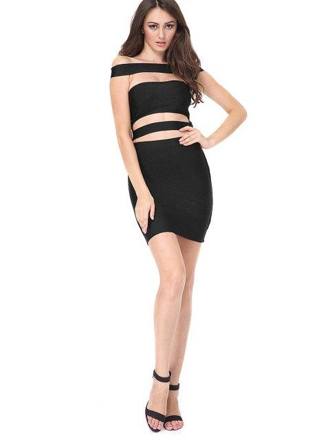 latest Cut Out Bodycon Bandage Dress - BLACK L Mobile