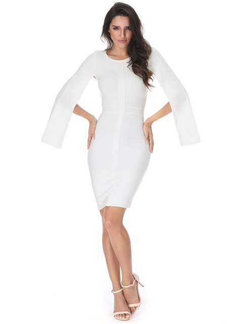 new Slit Sleeve Plain Bandage Dress - WHITE S Mobile